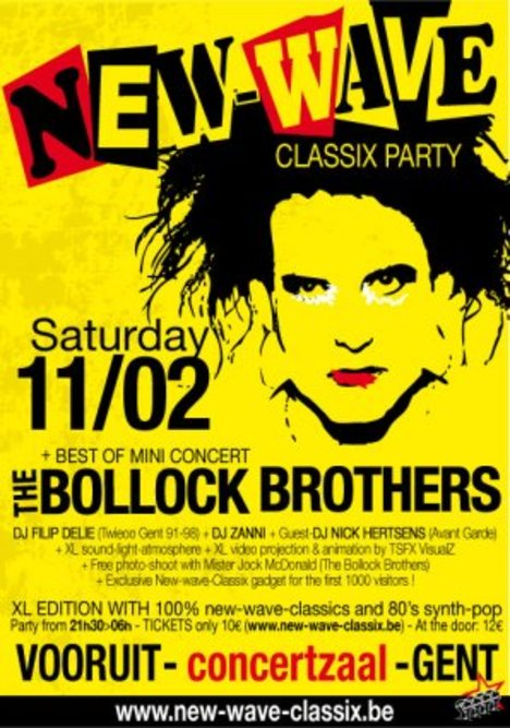NEW-WAVE-CLASSIX PARTY (SPECIAL XL EDITION WITH THE BOLLOCK BROTHERS AND MORE!), Vooruit, Concerthall, Gent