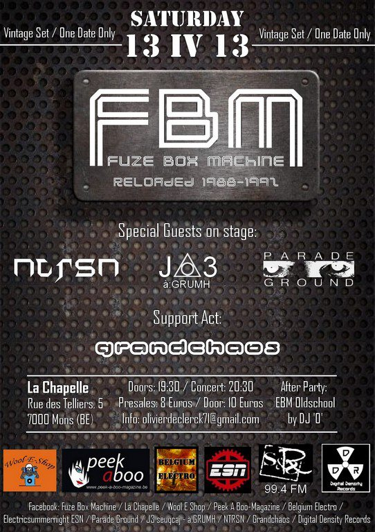 FUZE BOX MACHINE FEATURING PARADE GROUND - J3 (à:GRUMH) - NTRSN, La Chapelle Mons-bergen