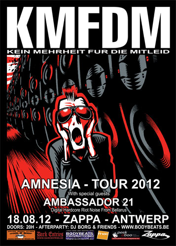 KMFDM - AMNESIA TOUR 2012 + AMBASSADOR 21, Zappa, August Leyweg 6, Antwerp
