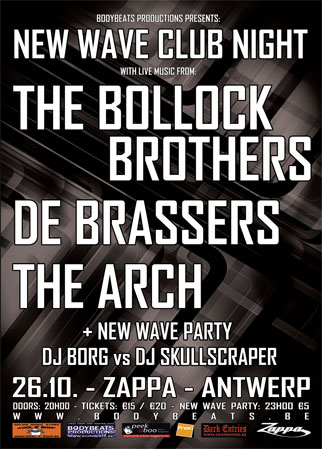 NEW WAVE CLUB NIGHT WITH THE BOLLOCK BROTHERS, DE BRASSERS & THE ARCH, Zappa, August Leyweg 6, 2060 Antwerp