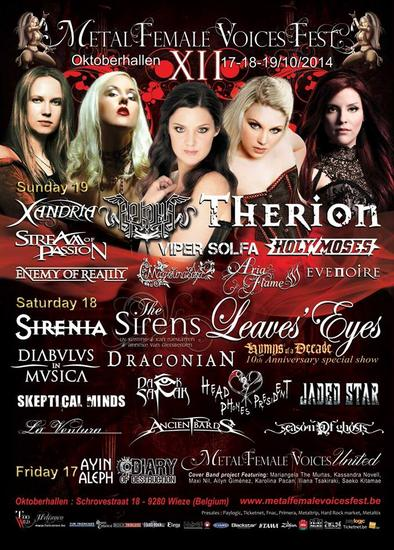 27/10/2014 : METAL FEMALE VOICES FEST - Day 2, 18/10/2014   Leaves' Eyes, Sirenia, The Sirens and more...