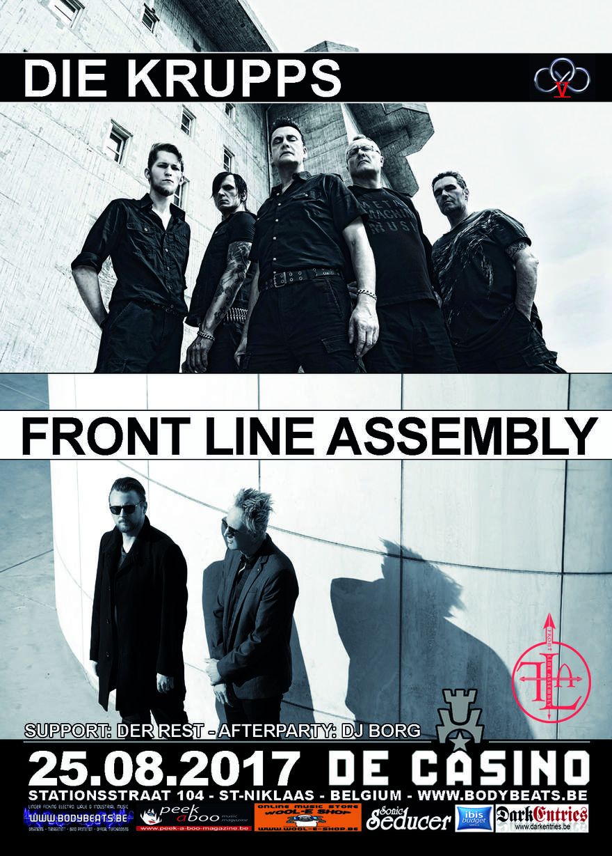 NEWS EBM juggernauts Front Line Assembly & Die Krupps sharing stage at De Casino (St-Niklaas,B) on 25th August