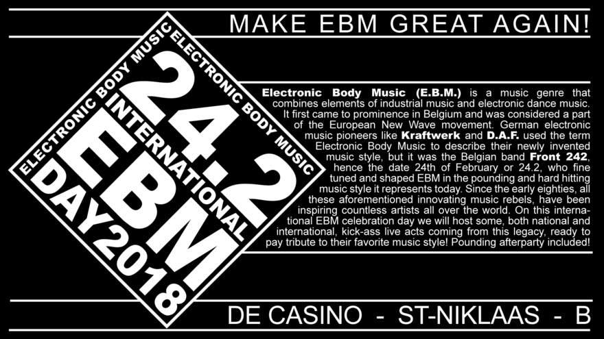 NEWS First two names for the International EBM Day (De Casino, St-Niklaas, B) announced!