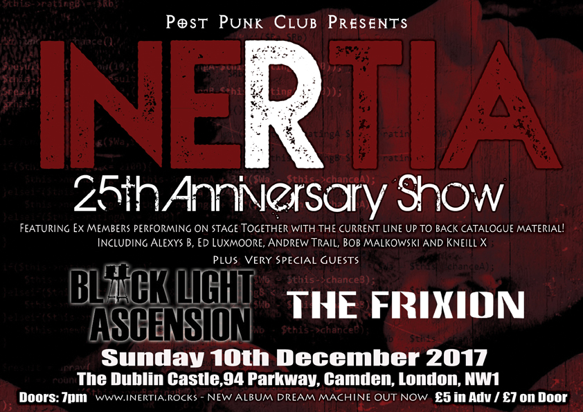 NEWS INERTIA: 25TH ANNIVERSARY SHOW IN LONDON 10.12.17 + video for single from new album out now