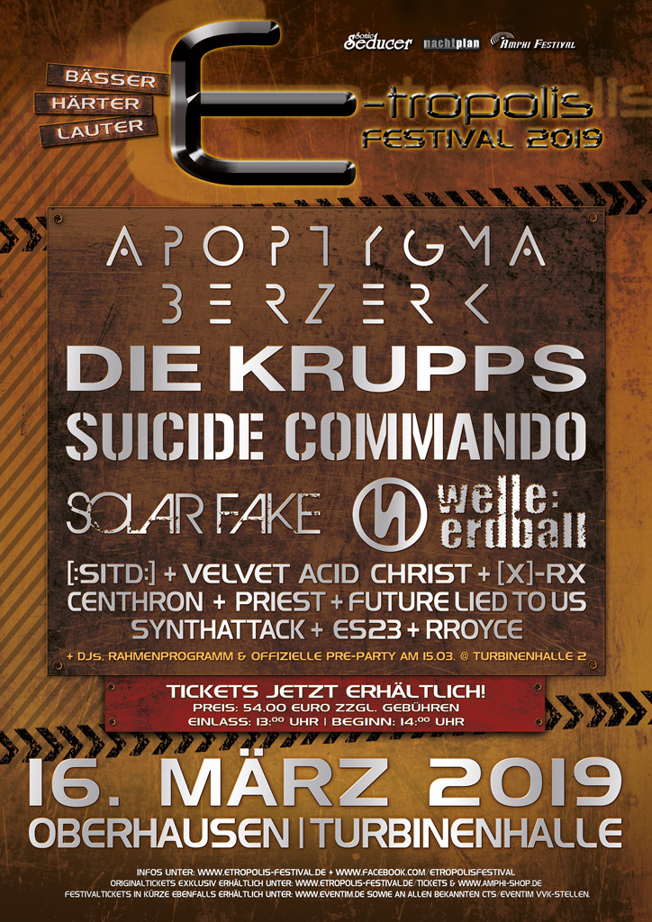 NEWS IX. E-TROPOLIS FESTIVAL 2019 - OF LEGENDS AND HYMNS OF STEEL with DIE KRUPPS and VELVET ACID CHRIST!