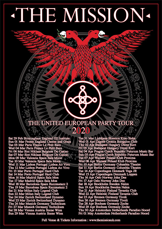 NEWS The Mission - The United European Party Tour 2020