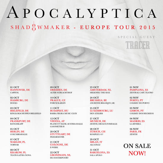 27/10/2015 : APOCALYPTICA/TRACER - Brussels, AB (24th October 2015)
