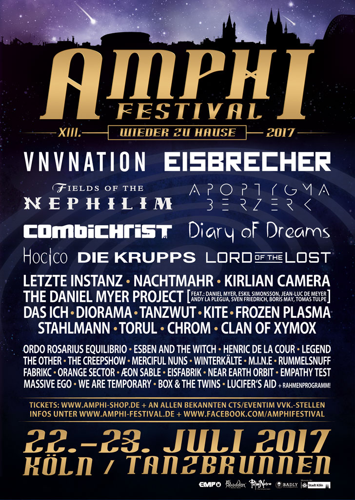 NEWS XIII. AMPHI FESTIVAL 2017 22. & 23.07.2017 – COLOGNE | TANZBRUNNEN